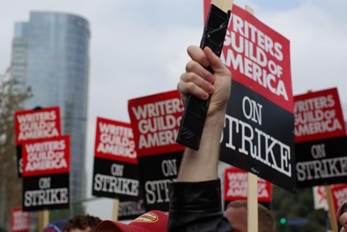 Huelga de guionistas (WGA en Century City, Los Angeles)